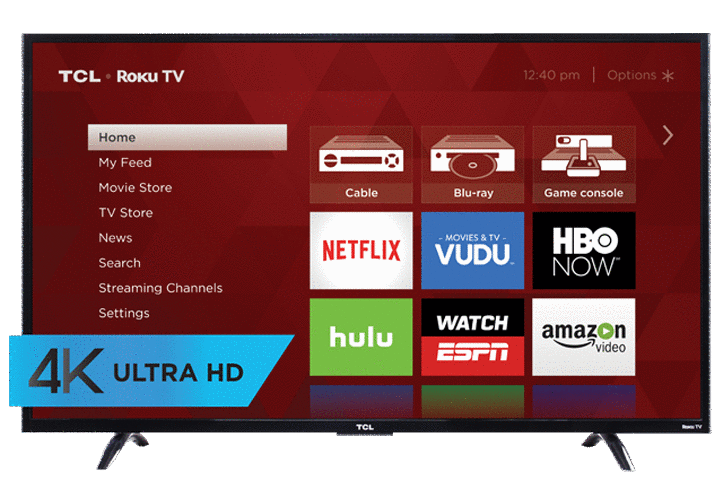 "TCL 55"" UP130 4K UHD LED Roku Smart TV - Front View"