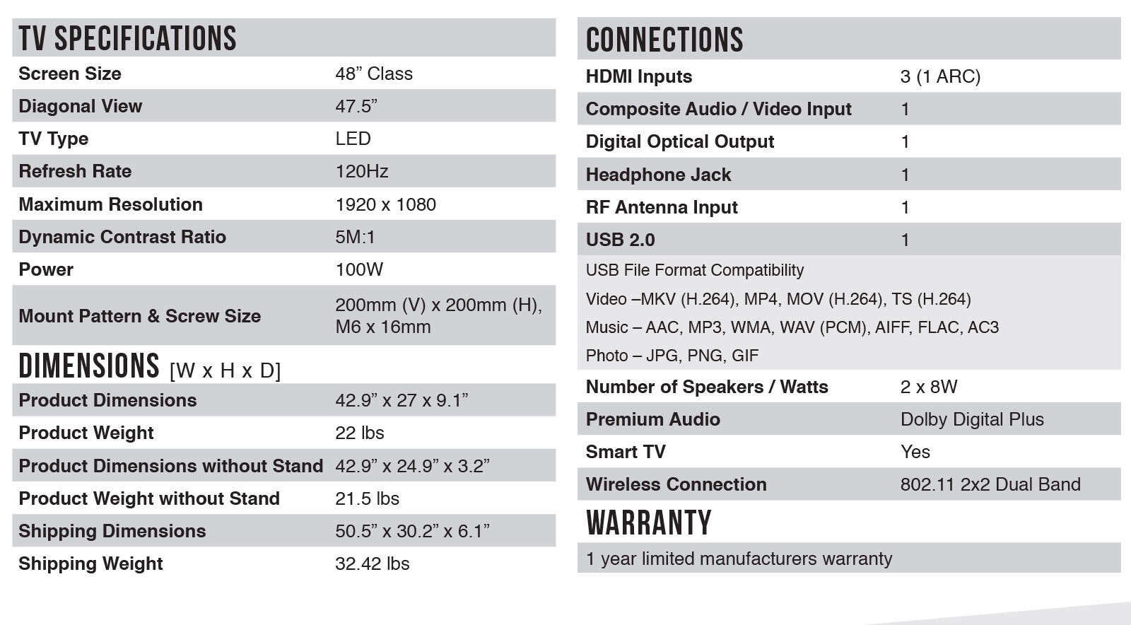 48FS3750 Spec Sheet