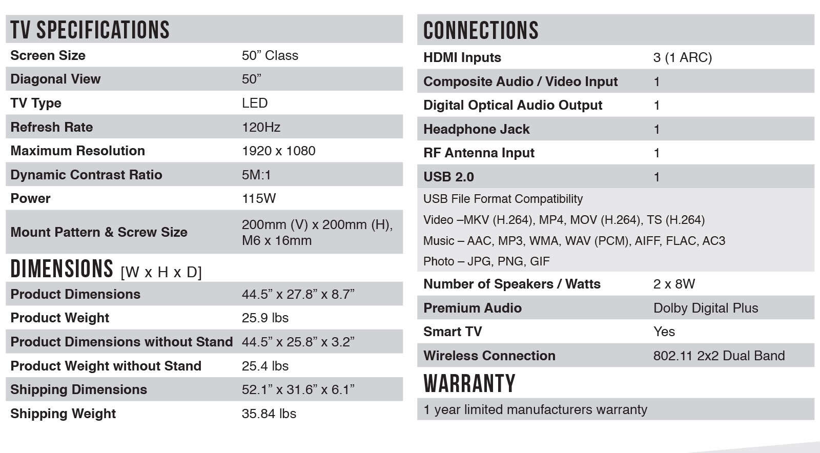50FS3800 Spec Sheet