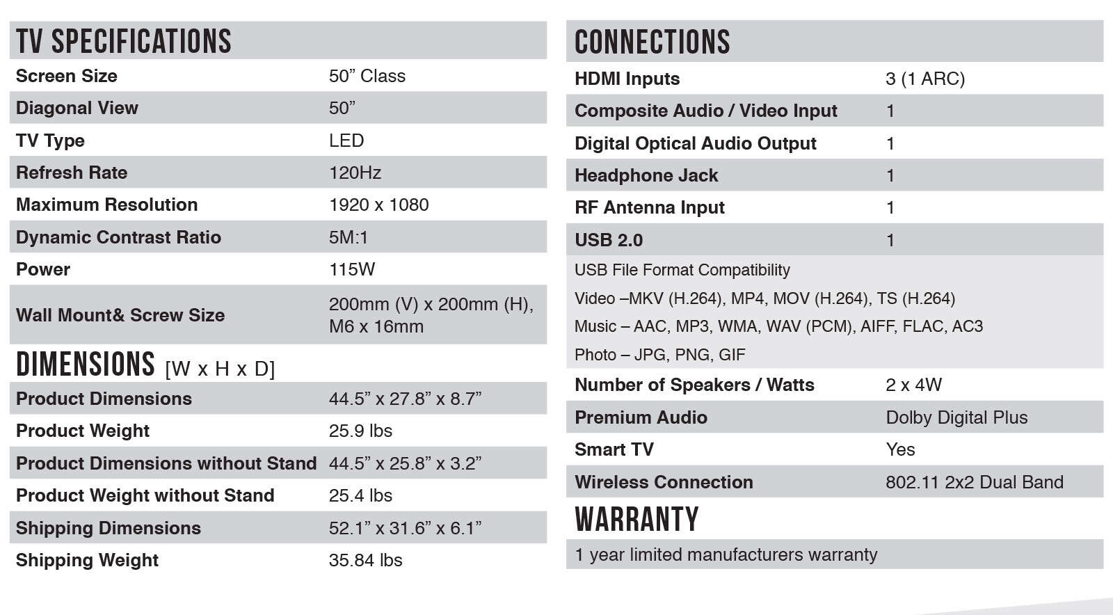 50FS3850 Spec Sheet