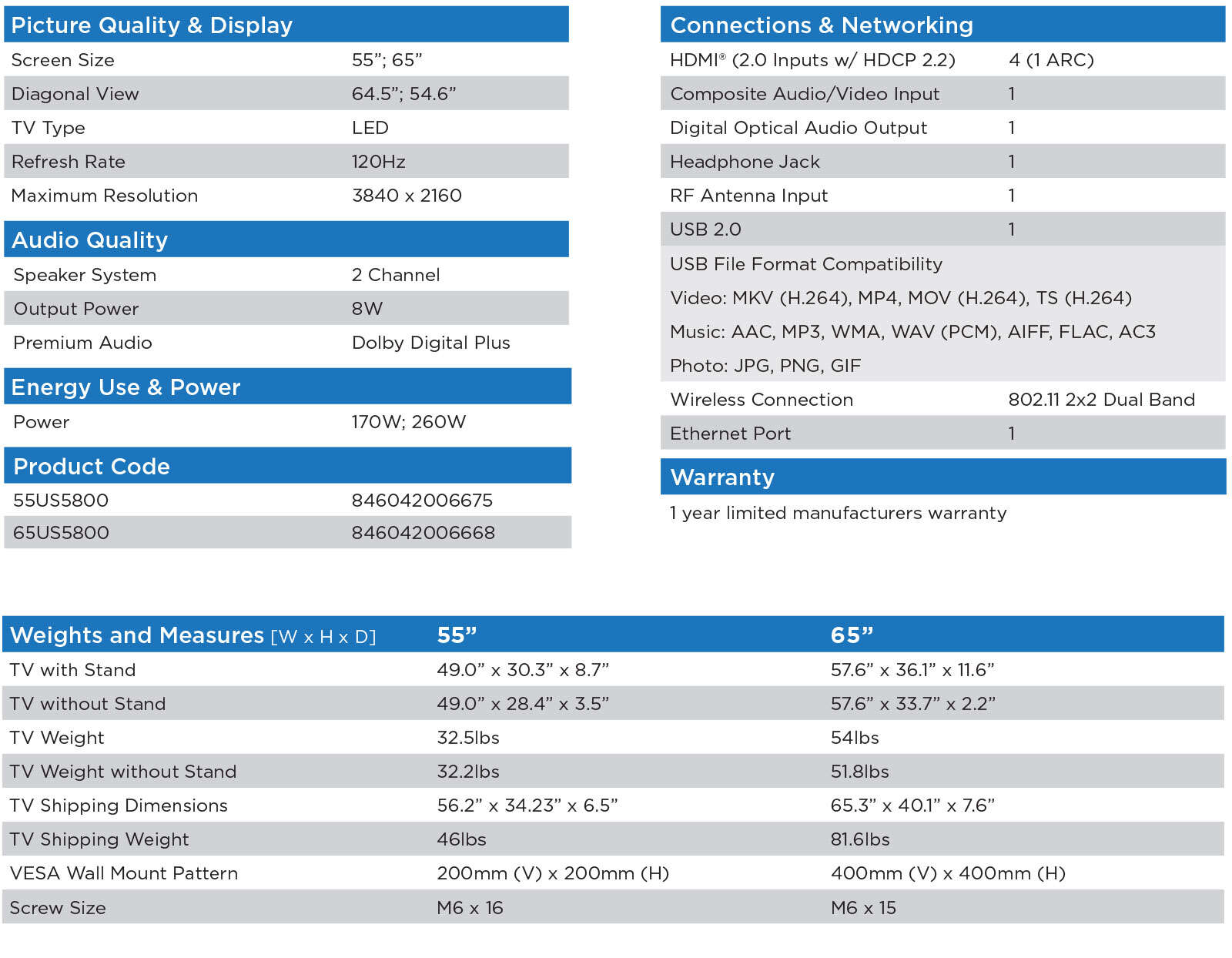 US5800 Spec Sheet