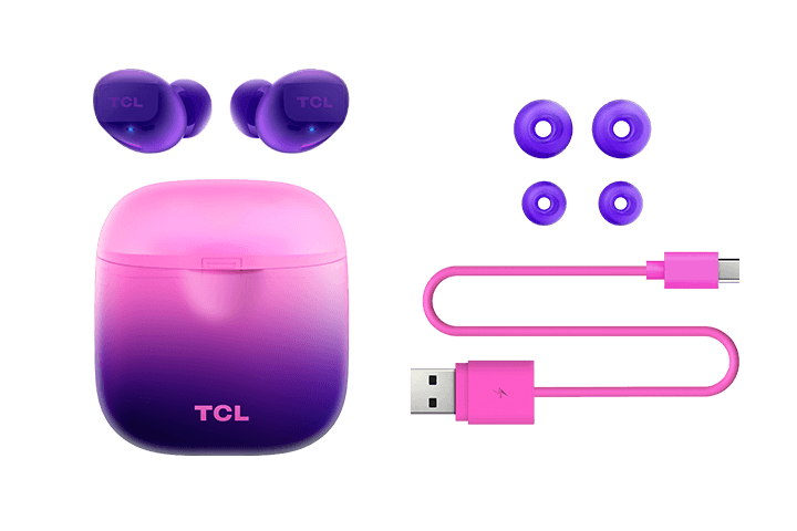 TCL Sunrise Purple True Wireless In-ear Bluetooth Headphones - All