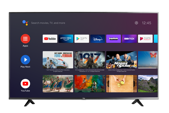 "TCL 50"" CLASS 4-SERIES 4K UHD HDR LED SMART ANDROID TV - 50S434 Front"