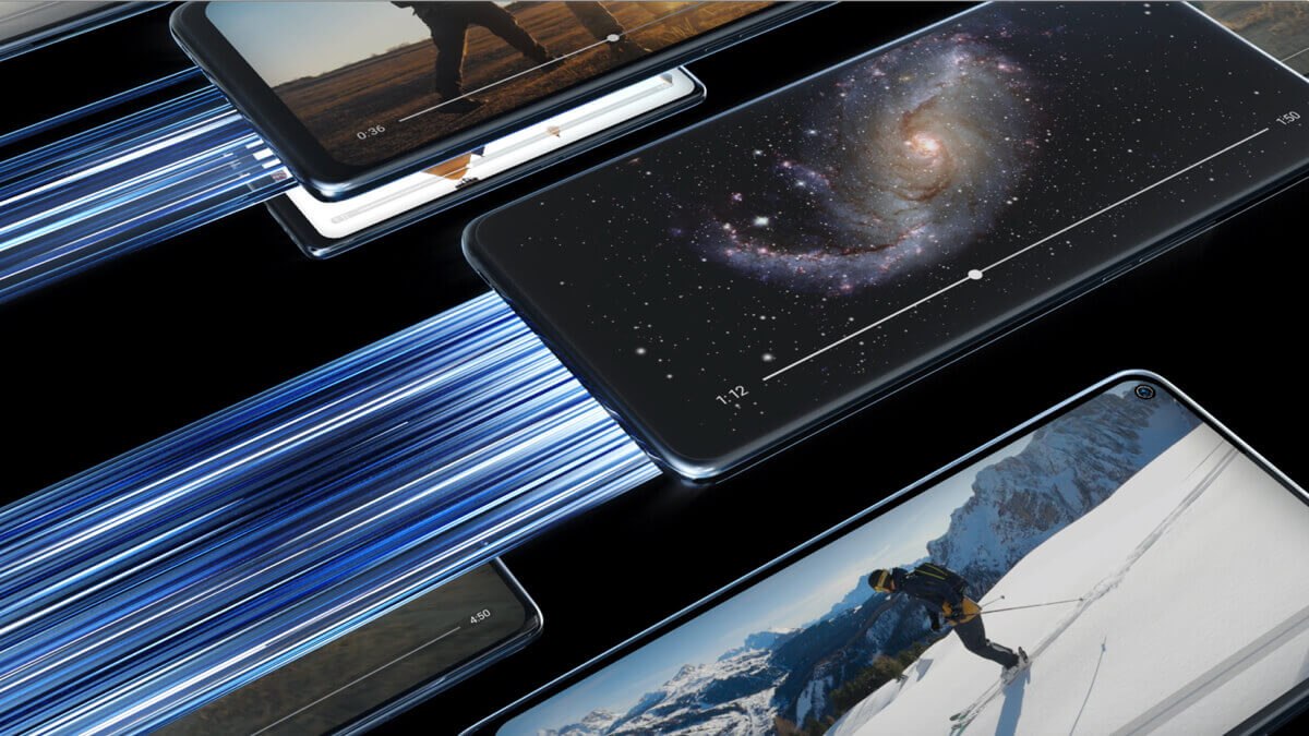 TCL 10 5G UW phones flying in space with lighting singnafying speed